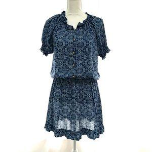 Blue Country Boho Button Up Dress - Small